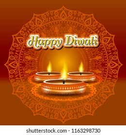 Modern elegant diwali design with candle with golden ornate. Trendy Diwali background design. Vector Illustration.