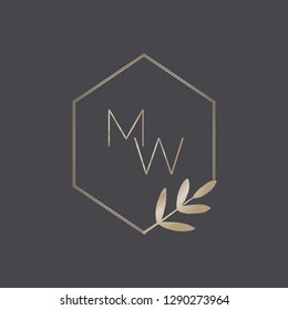 Modern and elegant geometric logo design with monograms for florists, cosmetics, weddings and home decor. Stylish minimalist vector illustration in gold isolated on dark gray background.