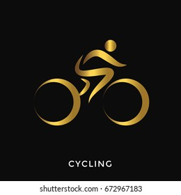 Modern Elegant Gold Summer Sports Logo - Cycling