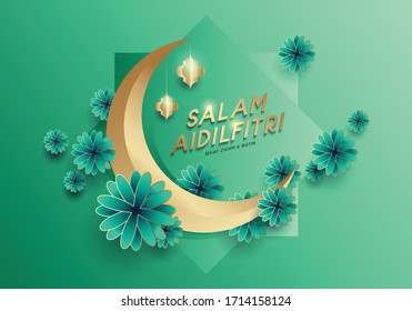 Modern and elegant Hari Raya greeting with flowers and crescent moon. Salam Aidilfitri means Happy Eid. Vector format.