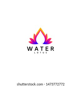 Modern and elegant Lotus lily and water on the negative space logo design vector icon set illustration inspiration. Design Template Ready to Use
