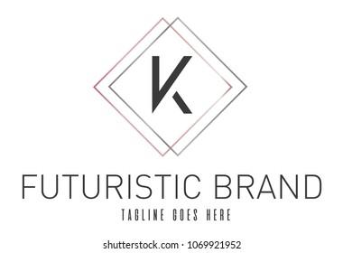 Modern Elegant Silver Rose Gold Geometric Letter K Logo