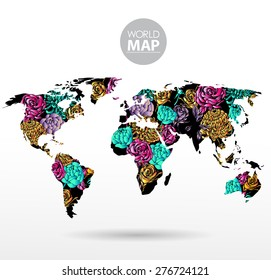 Modern elements of info graphics. Flowers World Map