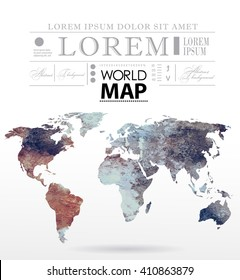 Modern elements of info graphics. Watercolor, paper World Map