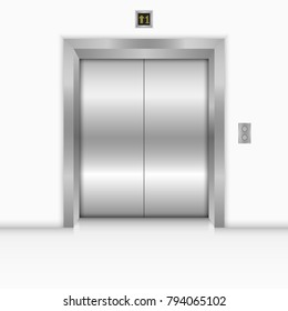 Modern elevator with closed metal doors. Vector illustration