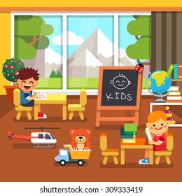 Modern elite kindergarten playroom with great mountains view in the window. Kids sitting and playing in the classroom. Flat style cartoon vector illustration with isolated objects.