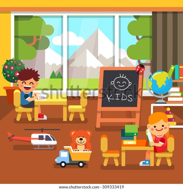 Modern Elite Kindergarten Playroom Great Mountains Stock