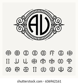 Modern emblem, badge, label template. Luxury elegant frame ornament line logo design vector illustration. And set to create monograms of two letters in scribed in a circle.