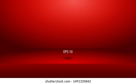 Modern Empty vivid red color studio shelf room background ,product display with copy space for display of content design.Banner for advertise product on website.Shelf for product display.