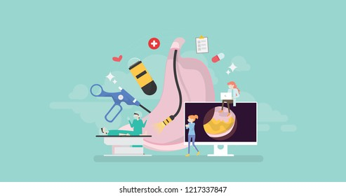 Modern Endoscopy Healthcare Technology Tiny People Character Concept Vector Illustration, Suitable For Wallpaper, Banner, Background, Card, Book Illustration, And Web Landing Page