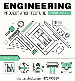 Modern engineering construction big pack. Thin line icons architecture. Professional projects drawing future production industry elements. High quality vector symbol. Stroke pictogram for web design.