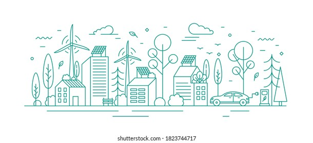 Modern environmentally friendly city with ecological infrastructure, electrical car charger, solar panel and windmill. Monochrome vector line art illustration of eco cityscape with alternative energy