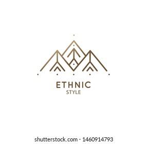 Modern esoteric abstract mountain logo. Zen minimal symbol of sacred pyramides. Natrural minimalistic landscape icon. Vector linear sign of mountains. Tattoo, spiritual yoga, travel, eco cosmetic