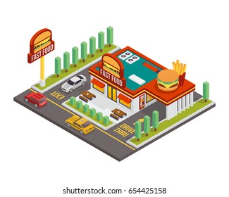 Modern Establish Isometric Commercial Restaurant Building - American Fast Food Burger Restaurant