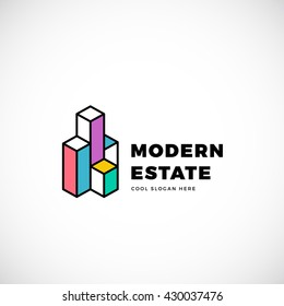 Modern Estate Abstract Vector Logo Template. Construction Sign. Building Concept Symbol. Isolated with Premium Typography.