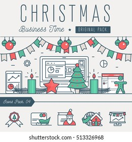 Modern excellent happy christmas business time. Thin line new year holiday concept. Decoration winter new year tree elements. Celebration vector winter objects and beauty xmas event.