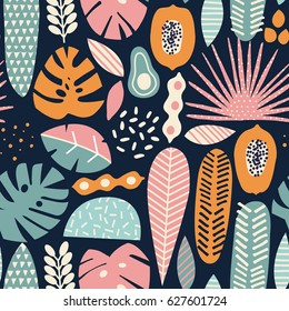 Modern exotic jungle fruits and plants seamless pattern in vector