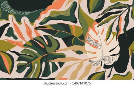 Diseño moderno de ilustraciones de plantas exóticas de selva. Collage creativo de estilo floral contemporáneo sin fisuras. Plantilla de diseño de moda.