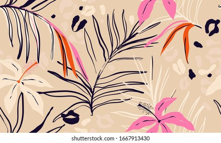 Modern exotic jungle plants illustration pattern. Creative collage contemporary floral seamless pattern. Fashionable template for design.