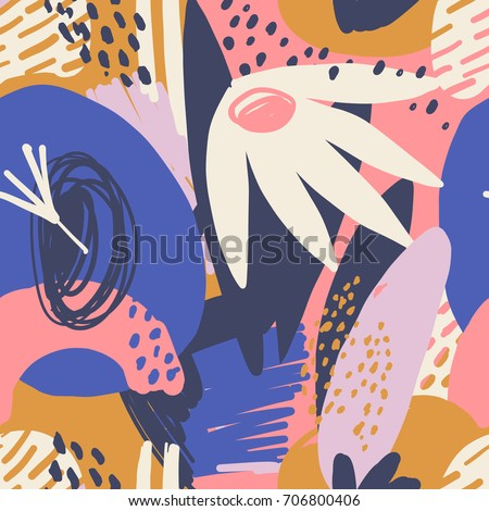 Modern exotic jungle plants seamless pattern in vector