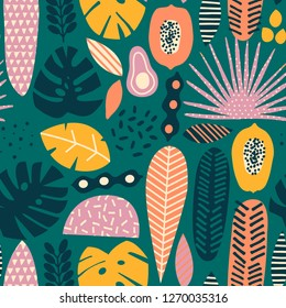 Modern exotic tropical hawaiian fruits and plants seamless pattern in vector