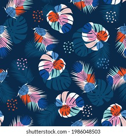 Modern exotic Tropical jungle plants illustration Monstera and palm leaves fill in with geometric seamless pattern vector ESP10 ,Design for fashion , fabric, textile, wallpaper,wrapping and all prints