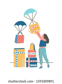 Modern express delivery flat vector illustration. Young lady receiving parcel via airdrop cartoon character. Contemporary postal service, internet orders distribution, goods shipment concept.