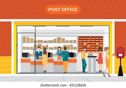 Modern exterior and interior of post office Building with counter service and post box with customer, front store vector illustration.