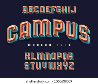 "Modern extruded font named ""Campus"""