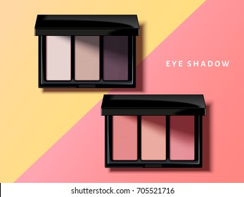 Modern eye shadow palette, pink and purple tone eye shadow mockup in 3d illustration, geometric background