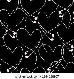 Modern eyephone create positive heart seamless pattern vector design for fabric,wallpaper,fashion ,and all prints on stylish black background color