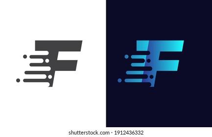 Modern F Letter Speed Logo Design. Creative unique elegant geometric, minimal fashion brand F letter logo. Technology logo with F letter.