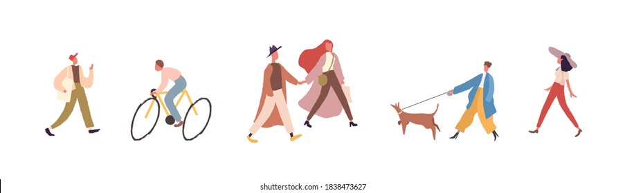Modern faceless people walking and riding bicycle on city street. Group of fashionable male and female character spend time outdoors. Vector illustration in flat cartoon style