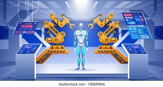 Modern factory or laboratory with futuristic automated work tools. Robot assembly line producing cyborg in factory. Vector