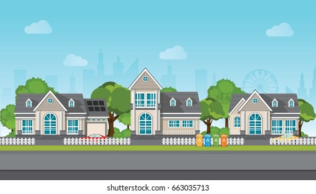 Modern family house with car, trees, road, sky and clouds on city view background.Village landscape, real estate Vector illustration in flat style.