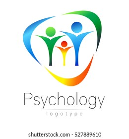 Modern Family logo of Psychology. People in a circle. Creative style. Logotype in vector. Design concept. Brand company. Blue green orange color isolated on white background. Symbol for web, print