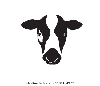 Modern Farm Cow Head Logo Illustration In Isolated White Background