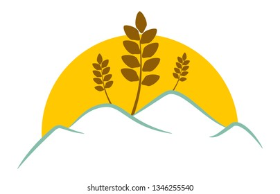 Modern farming business graphic design vector with setting sun behind hills and wheat