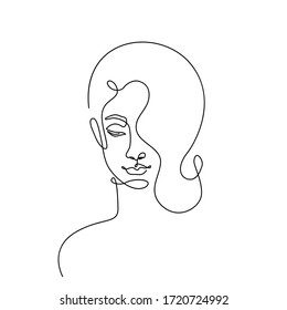Modern fashion linear female face profile. Beautiful women in minimal line style for logo, emblem template. Vector illustration.