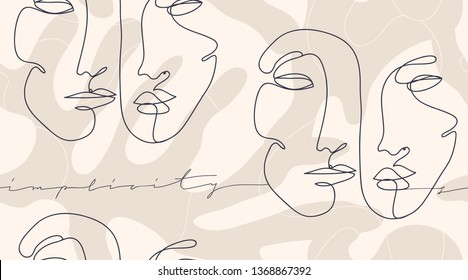 "Modern fashion pattern with continuous line, drawing faces. Fashionable template for design. Signs ""SIMPLICITY""."