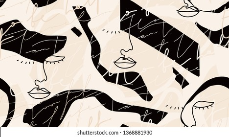 Modern fashion pattern with continuous line, drawing of woman face. Fashionable template for design.