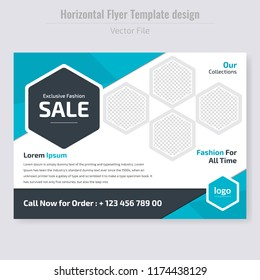 Modern Fashion Sales off Flyer template.Horizontal Flyer design. advertisement, presentation, magazine page. a4 size vector illustration. EPS 10