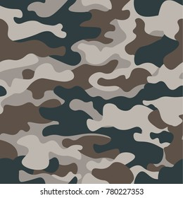 Modern fashion vector trendy camo pattern.Classic clothing style masking camo repeat print. Green brown black olive colors forest texture. Design element. Vector illustration.