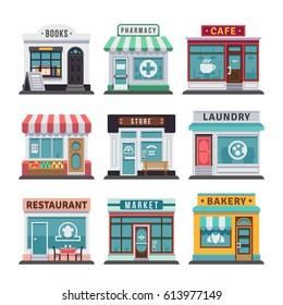 Modern fast food restaurant and shop buildings, store facades, boutiques with showcase flat icons. Exterior market and restaurant, illustration of exterior facade store building