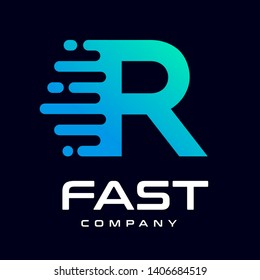 Modern Fast letter R vector logo. This font with speed or moving symbol and blue color. Suitable for motion, sport, delivery business and alphabet.
