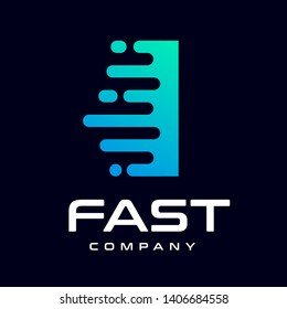 Modern Fast letter I vector logo. This font with speed or moving symbol and blue color. Suitable for motion, sport, delivery business and alphabet.