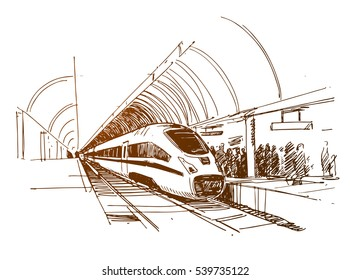 Modern Fast Passenger Train at the Station