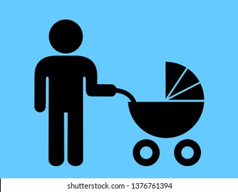 Modern father - Man on parental leave - male is nursing and taking care about child, kid and infant in baby carriage. Vector illustration
