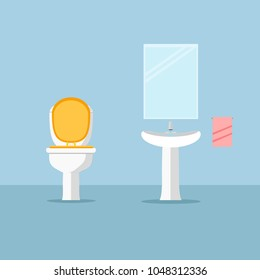 Modern faucet and ceramic white sink with water tap isolated on background. Toilet bowl. Mirror on the wall. Furniture for lavatory, bathroom interior. Vector illustration. Flat style design