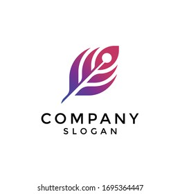 modern feather or quill logos with gradations from dark blue to purple. editable and easy to custom